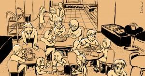 Piirroksessa istuu hyväntuulisen näköisiä ihmisiä kahvilapöytien ympärillä juttelemassa.
